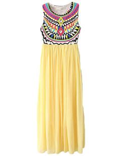 /ru/tribal-sleeveless-print-chiffon-maxi-dress-yellow-p-3246.html