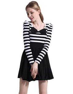 /black-and-white-striped-bow-big-hem-long-sleeve-dress-p-626.html