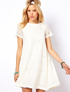 /white-short-sleeve-hollow-lace-loose-aline-dress-p-2128.html