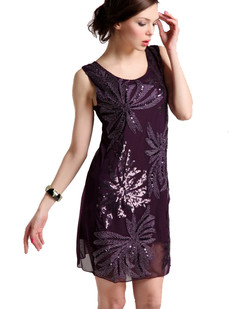 /purple-sequin-embellished-palm-tree-pattern-shift-dress-p-1898.html