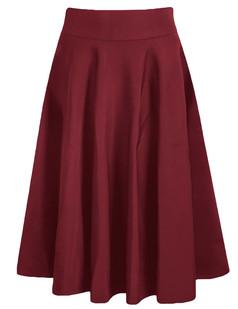/high-waist-a-line-pleated-midi-skate-skirt-burgundy-p-6172.html