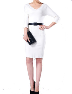 /women-v-neck-back-zip-stretch-pencil-dress-p-585.html