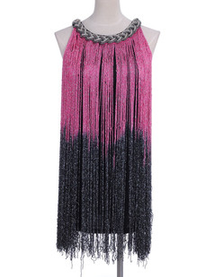 /black-and-pink-long-fringe-braided-chain-neck-dress-p-1676.html