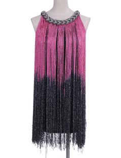 /ru/black-and-pink-long-fringe-braided-chain-neck-dress-p-1676.html