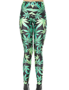 /women-green-weed-maple-leaf-print-leggings-tights-pants-p-243.html