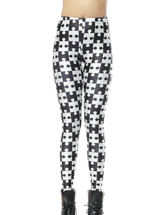 /women-monochromatic-jigsaw-pattern-black-white-printed-leggings-p-271.html