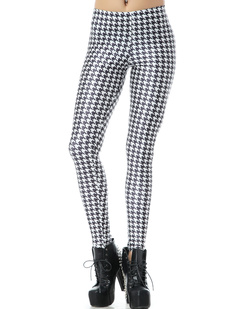/swallow-grid-check-tweed-hounds-print-tight-leggings-p-1009.html