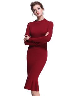 /mock-neck-elegant-fishtail-sweater-dress-burgundy-p-7368.html