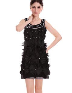 /black-3d-flower-gem-stone-bead-neckline-shift-dress-p-1866.html
