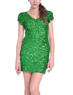 /green-sexy-v-neck-sequins-all-over-ruched-sleeve-dress-p-1523.html