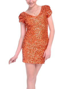 /orange-sexy-v-neck-sequins-all-over-ruched-sleeve-dress-p-1525.html