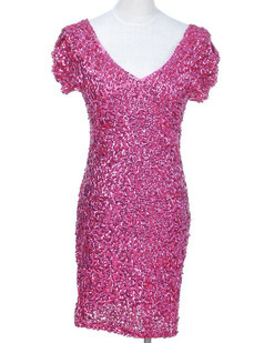 /rose-red-sexy-v-neck-sequins-all-over-ruched-sleeve-dress-p-1529.html