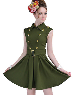 /military-style-army-green-double-breasted-belted-big-hem-dress-p-921.html