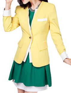 /yellow-white-one-button-slim-suit-jacket-p-4376.html