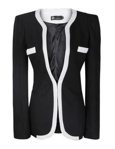 Women Black White Colors Career Slim Suit Blazer Jacket - PrettyGuide