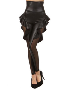 /women-high-waist-banded-faux-leather-peplum-leggings-p-502.html