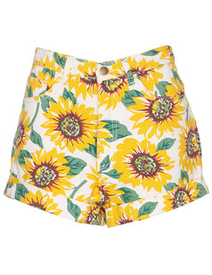 /women-sunflower-print-denim-highwaist-cuff-short-p-526.html