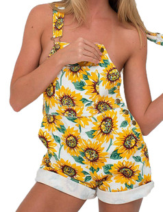 /sunflower-print-loose-overalls-pocket-jumpsuit-yellow-p-3360.html