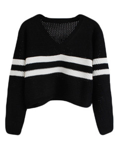 /vneck-striped-knit-crop-sweater-black-p-5502.html