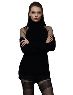 /women-mohair-mesh-sheer-shoulder-turtle-neck-long-sweater-black-p-706.html