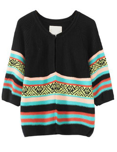 /striped-cropped-sleeve-knit-cardigan-black-p-4924.html
