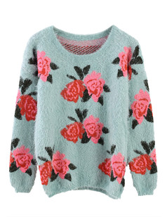 /red-rose-print-fluffy-shaggy-pullover-sweater-blue-p-1224.html