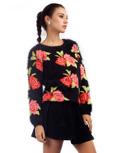 /red-rose-print-fluffy-shaggy-pullover-sweater-black-p-1359.html