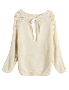/beige-long-sleeve-back-hollow-bow-knit-sweater-p-4914.html