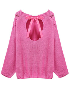 /ru/rose-red-long-sleeve-back-hollow-bow-knit-sweater-p-4912.html
