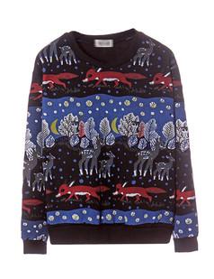 /black-long-sleeve-deer-fox-snowflake-print-sweatshirt-p-1195.html