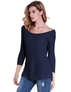 /navy-boat-neck-cropped-sleeve-open-stitch-pullover-p-6864.html