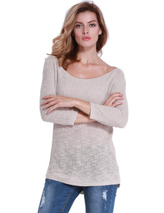 /beige-boat-neck-cropped-sleeve-open-stitch-pullover-p-6854.html