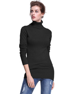 /women-turtleneck-ribbed-trim-tunic-sweater-black-p-7340.html