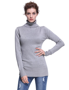 /women-turtleneck-ribbed-trim-tunic-sweater-gray-p-7338.html