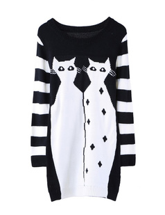 /black-and-white-double-cats-knit-sweater-dress-p-874.html