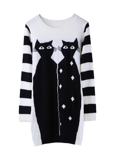 /black-and-white-double-cats-knit-sweater-dress-p-872.html