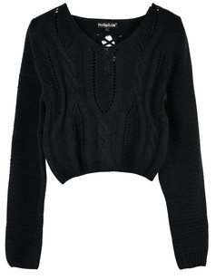 /eyelet-cable-knit-lace-up-crop-sweater-black-p-3254.html