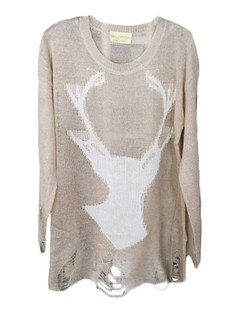 /stag-deer-print-shredded-hem-sweater-khaki-p-5182.html