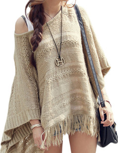 /es/bat-sleeve-loose-hollow-fringed-knit-cape-shawl-blouse-p-4906.html