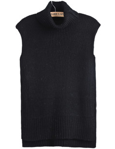 /ru/black-roll-neck-sleeveless-dipped-hem-sweater-p-1304.html