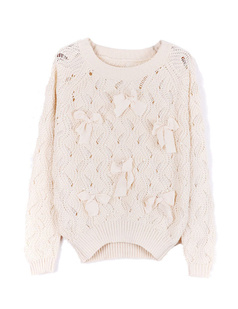 /beige-bow-eyelet-embellished-plastic-pearls-knit-sweater-p-1055.html
