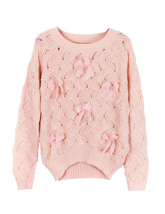 /pink-bow-eyelet-embellished-plastic-pearls-knit-sweater-p-1053.html