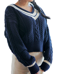 /v-neck-stripes-contrast-cable-knit-sweater-blue-p-5294.html