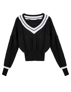 /v-neck-stripes-contrast-cable-knit-sweater-black-p-5296.html