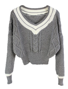 /v-neck-stripes-contrast-cable-knit-sweater-grey-p-5298.html