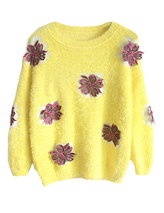 /embroidered-applique-mohair-fluffy-sweater-yellow-p-5712.html