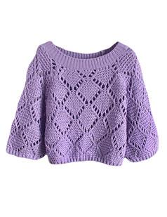 /purple-hollow-bat-sleeve-loose-crop-sweater-p-5846.html
