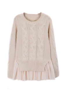 /chiffon-hem-cable-twist-sweater-knitwear-beige-p-1298.html