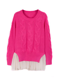 /chiffon-hem-cable-twist-sweater-knitwear-rose-red-p-1297.html
