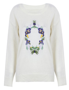 /es/white-flower-embroidered-knit-jumper-sweater-p-1172.html